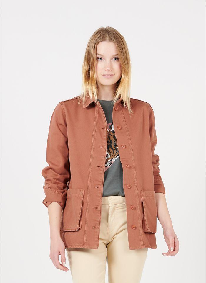 REIKO Orange Organic cotton jacket with classic collar