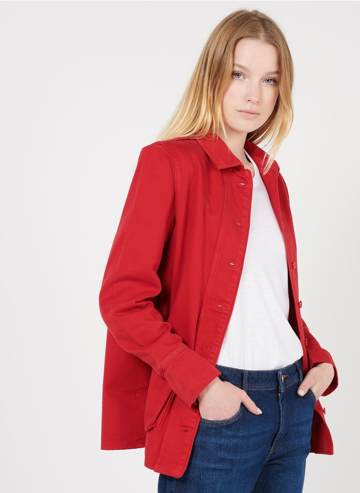 REIKO Red Organic cotton jacket with classic collar
