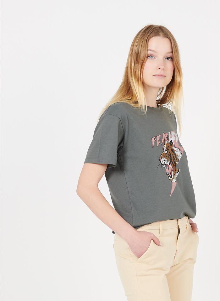 REIKO Grey Round-neck cotton-blend T-shirt with screen print