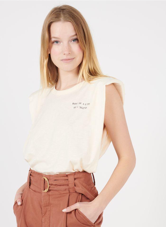 REIKO White Round-neck organic cotton-blend T-shirt with screen print