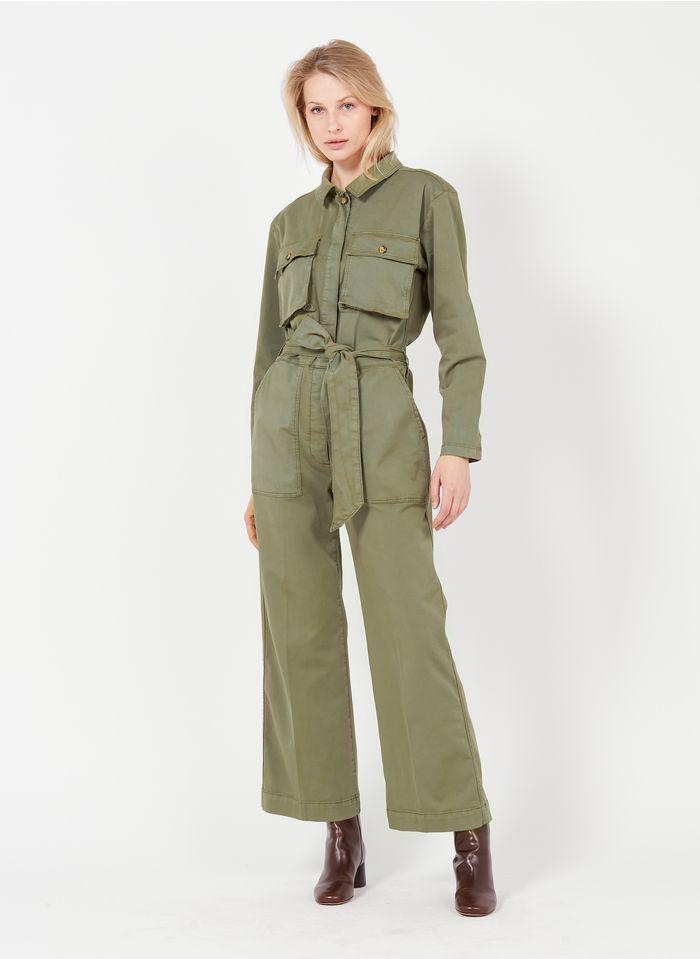 REIKO Khaki Wide-leg cotton jumpsuit with classic collar