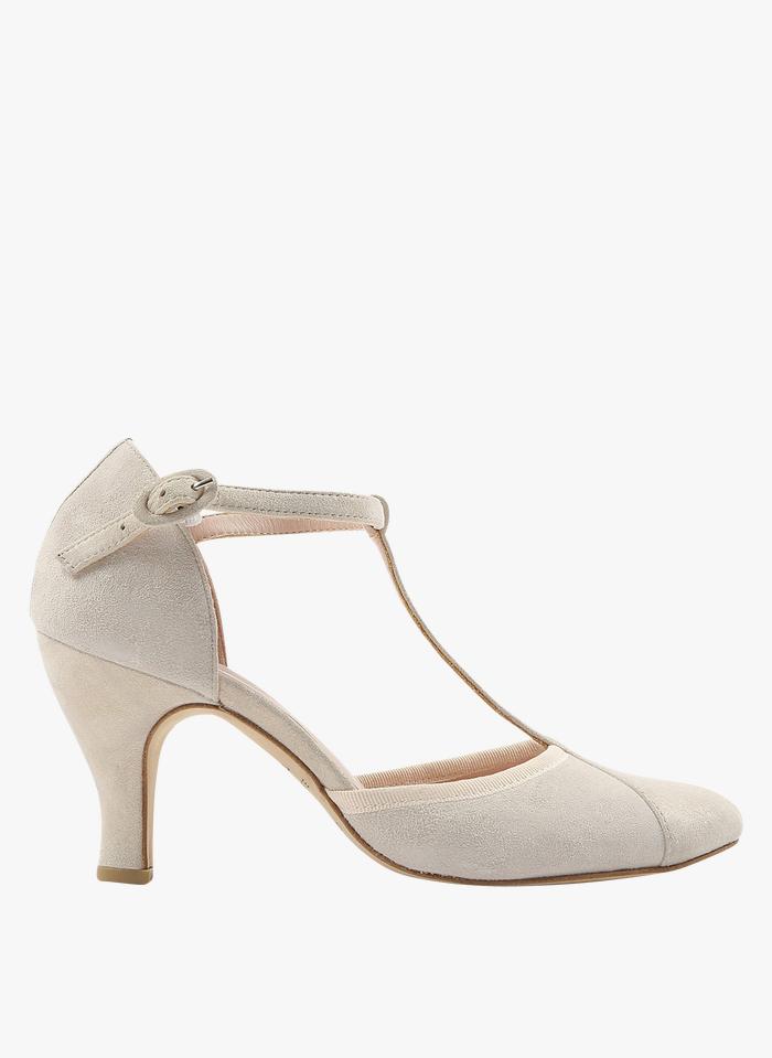 REPETTO White Baya goatskin suede T-bar shoes