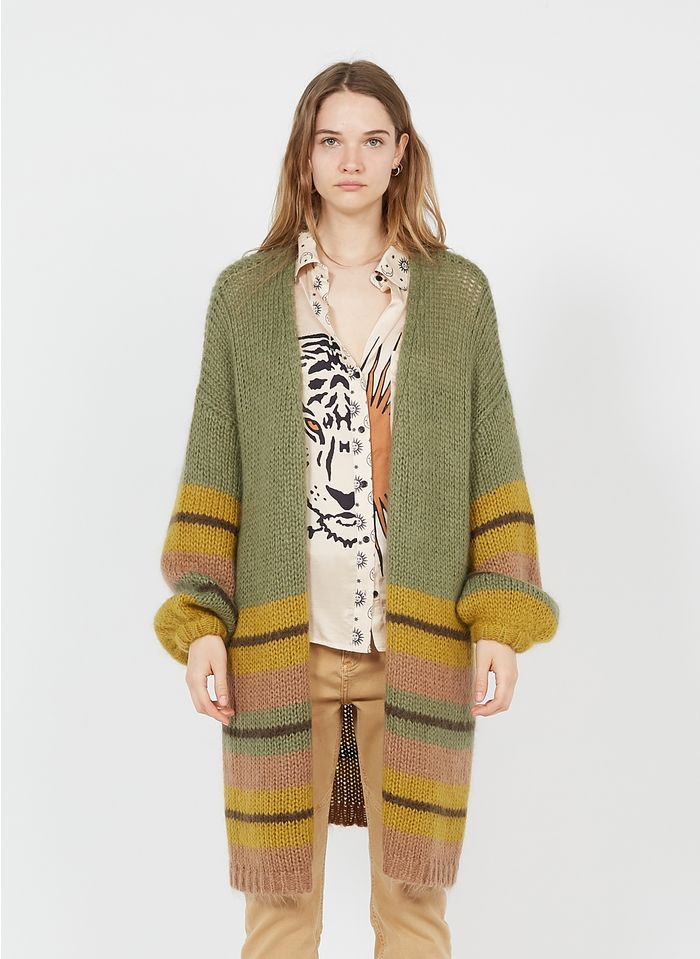 SACK S Green Long striped wool and mohair-blend cardigan
