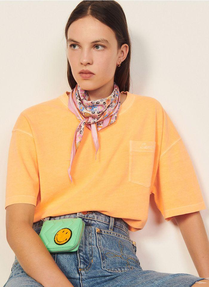 SANDRO Orange Oversized round-neck cotton T-shirt