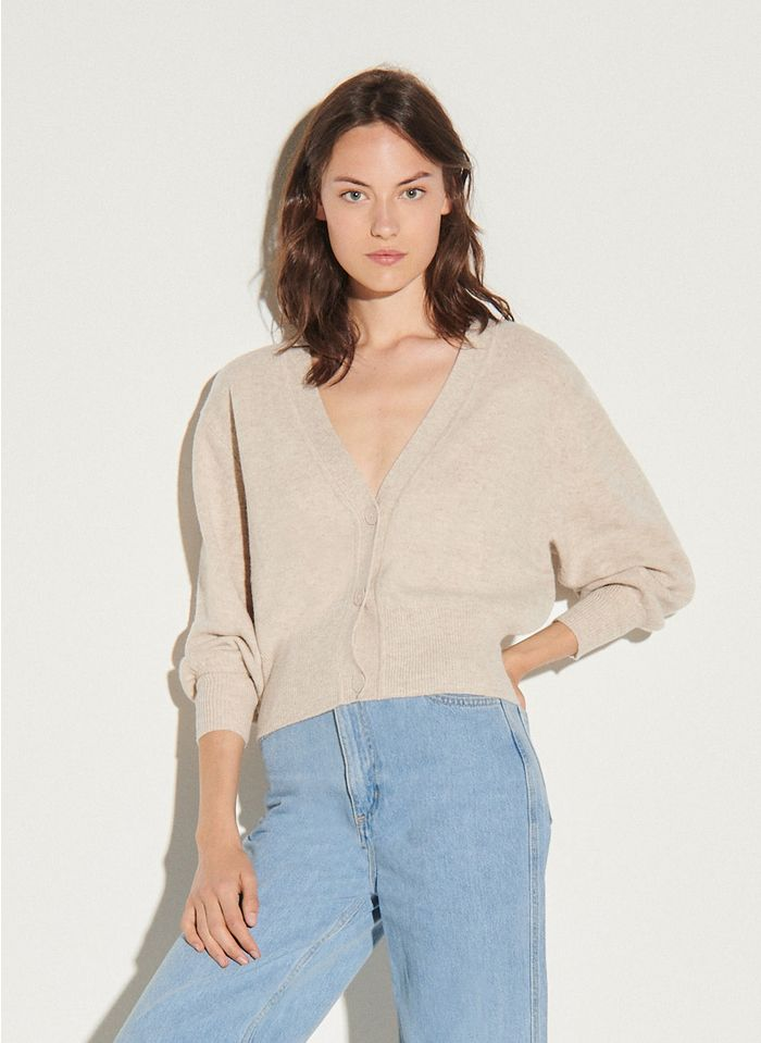 SANDRO Beige V-neck wool cardigan