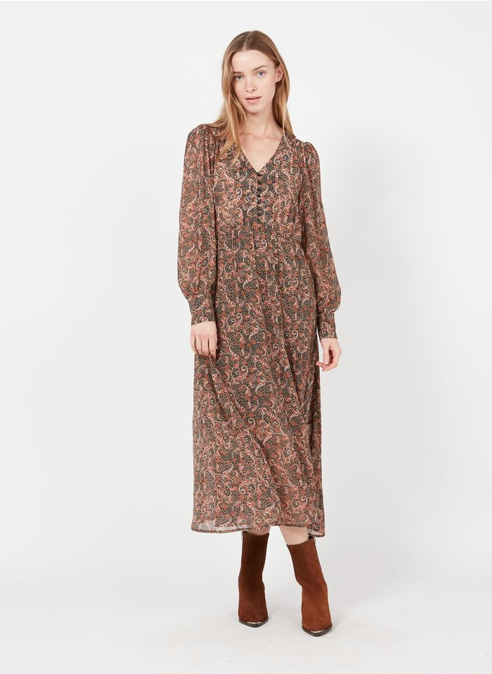 SEE U SOON Black Long paisley print V-neck dress