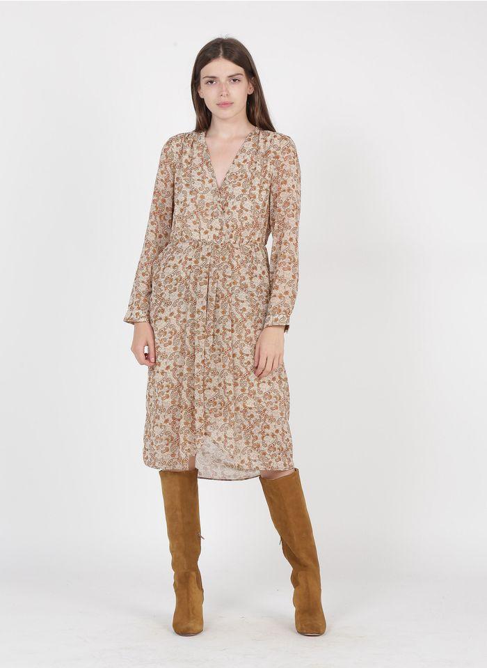 SEE U SOON Beige Paisley print V-neck midi dress