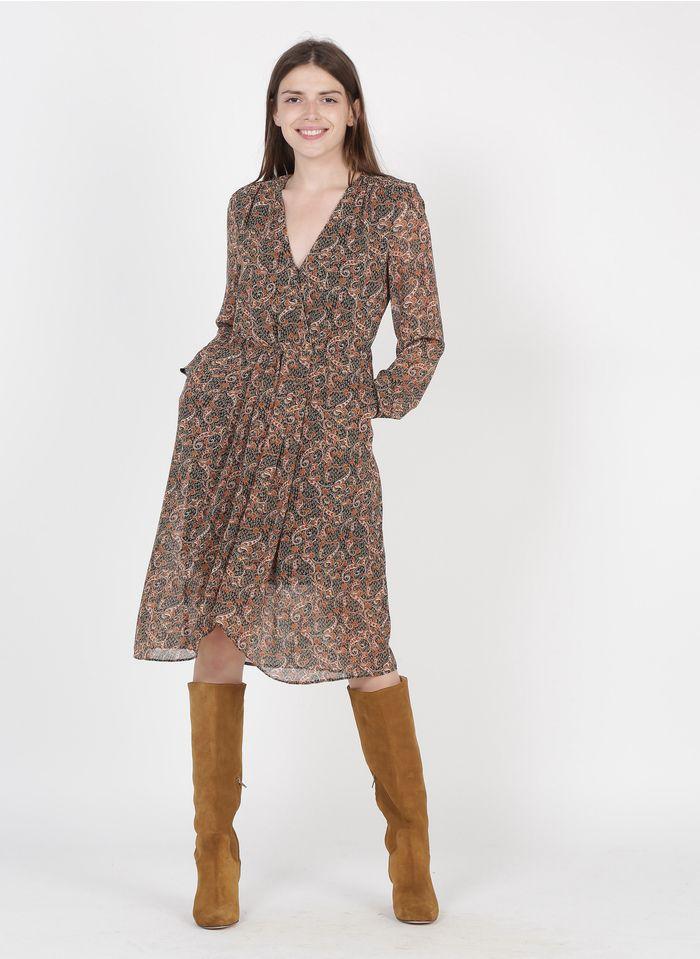 SEE U SOON Black Paisley print V-neck midi dress