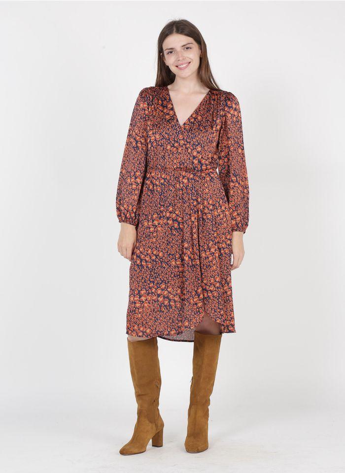 SEE U SOON Orange Printed midi wrap dress