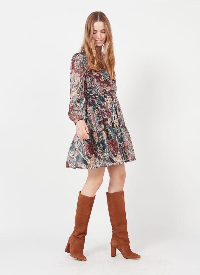 SEE U SOON Blue Short pleated printed V-neck dress