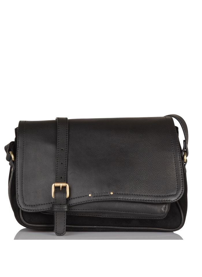 SESSUN Black Grained leather and suede messenger bag