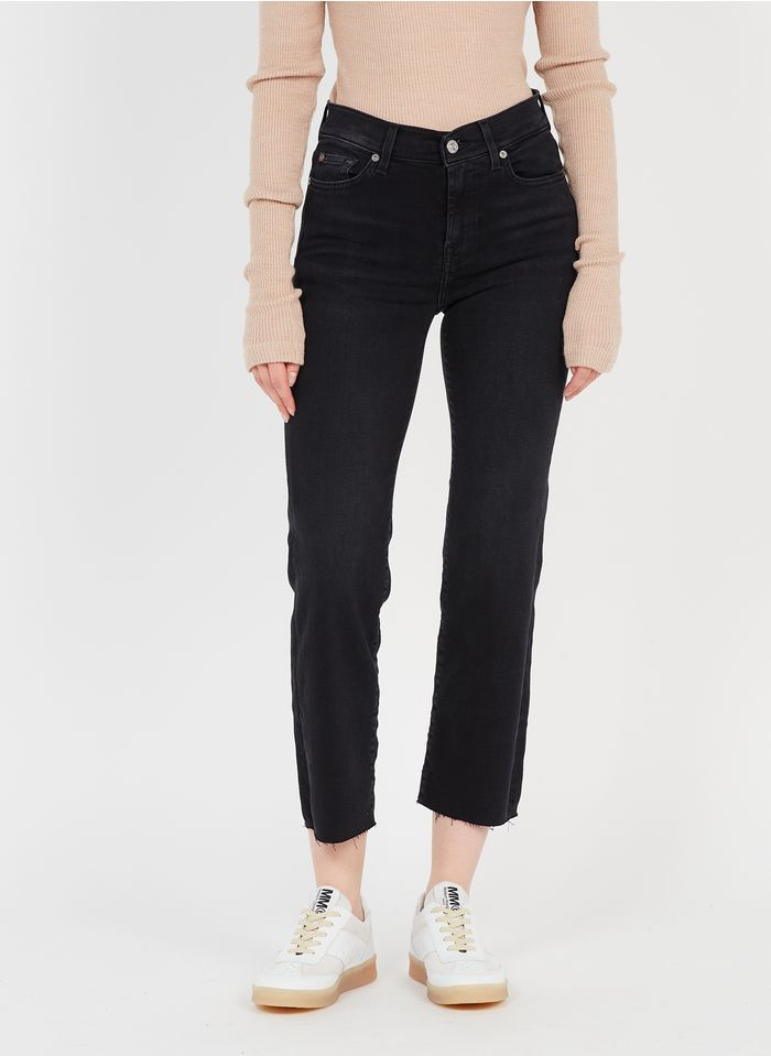 7 FOR ALL MANKIND Black Straight high-waisted slim-fit jeans with 5 pockets