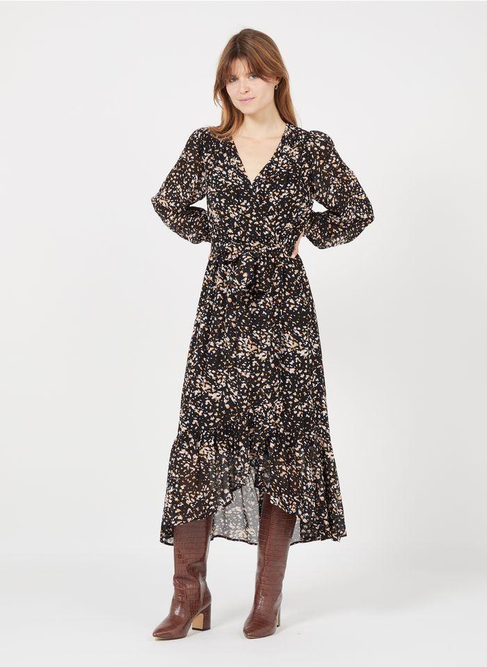 SUNCOO Black Long printed V-neck dress