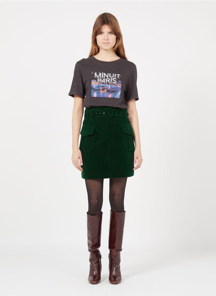 SUNCOO Green Short belted velvet skirt