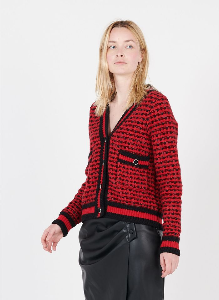 SUNCOO Red Wool-blend jacquard V-neck cardigan