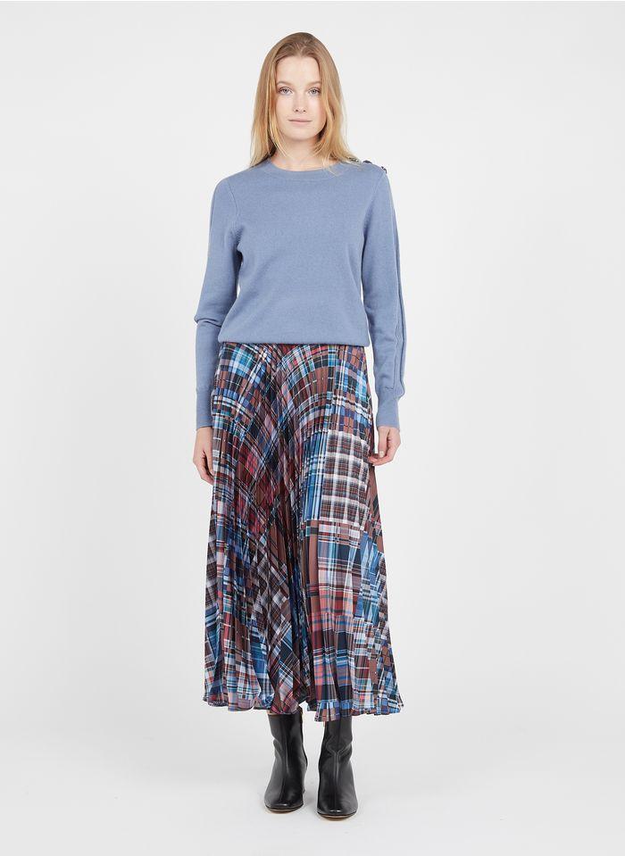 TARA JARMON Blue High-waisted pleated checked midi skirt