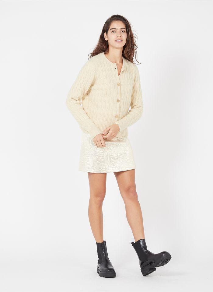 TARA JARMON Golden Short metallic cotton-blend skirt