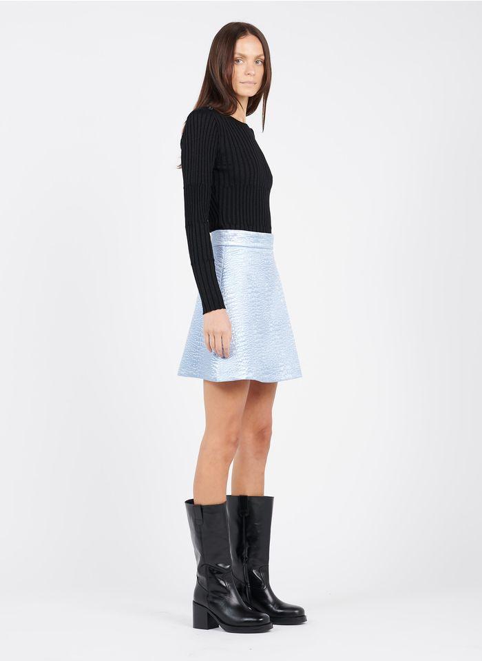 TARA JARMON Blue Short metallic jacquard skirt