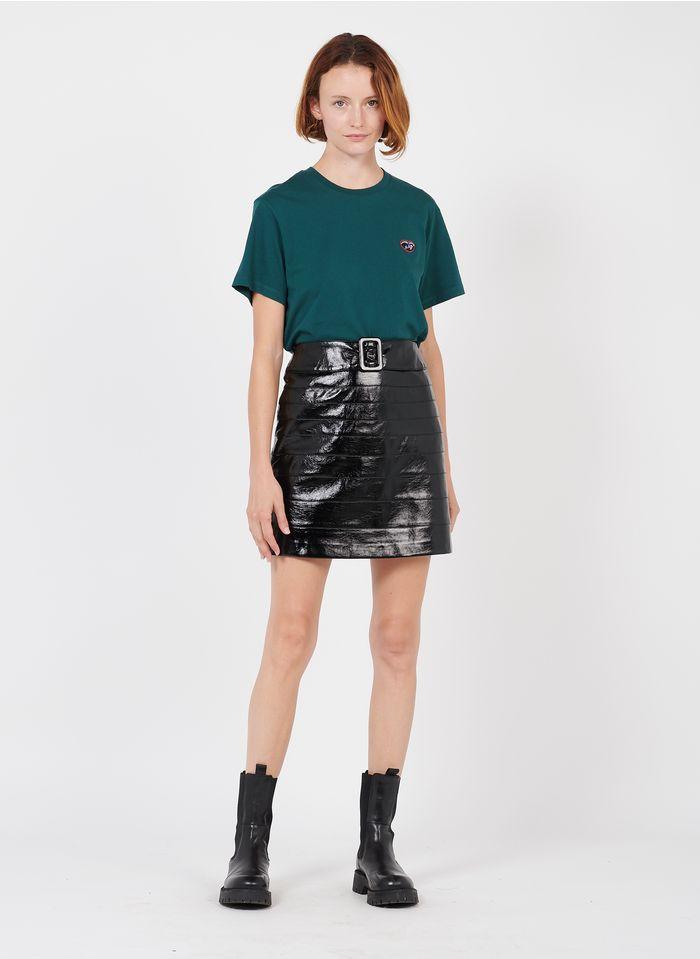 TARA JARMON Black Short zipped patent skirt