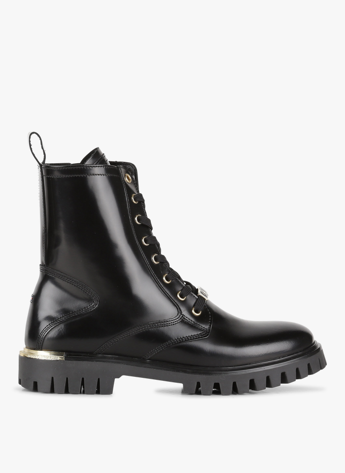 TOMMY HILFIGER Black Patent-look leather mid-calf boots