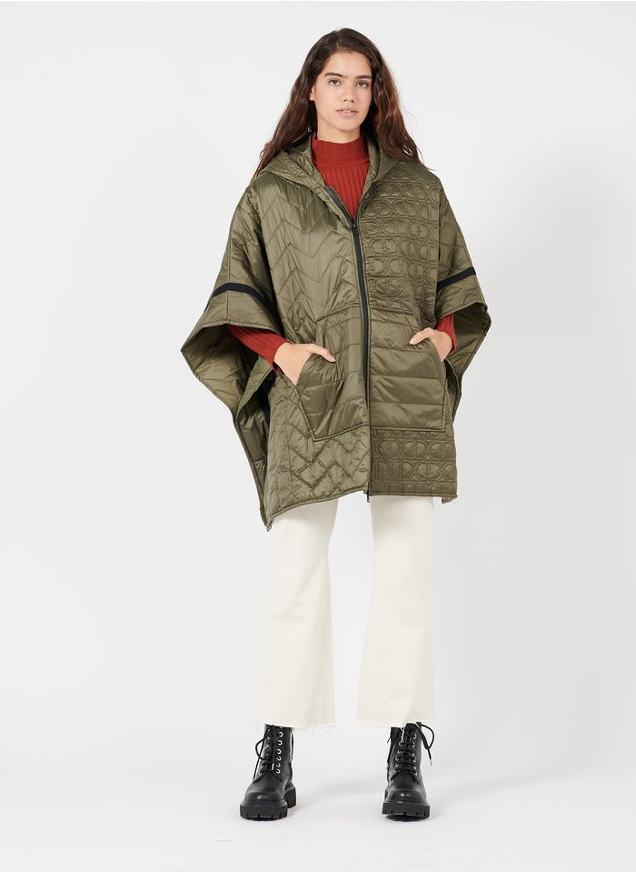 TWINSET Khaki Oversized quilted cape with hood