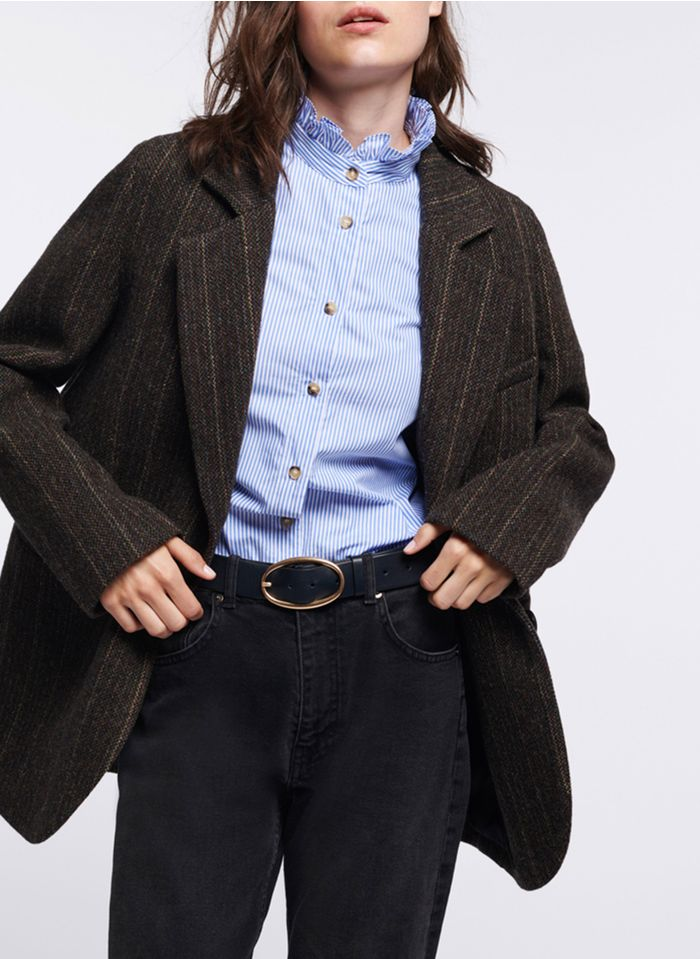 VANESSA BRUNO Black Striped loose-fit jacket with tailored collar