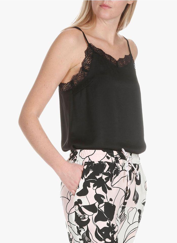 VILA Black Satin camisole with lace details