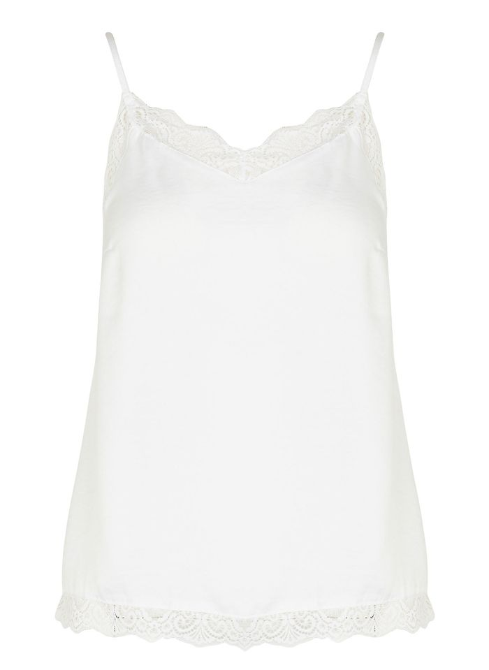 VILA White Satin camisole with lace details
