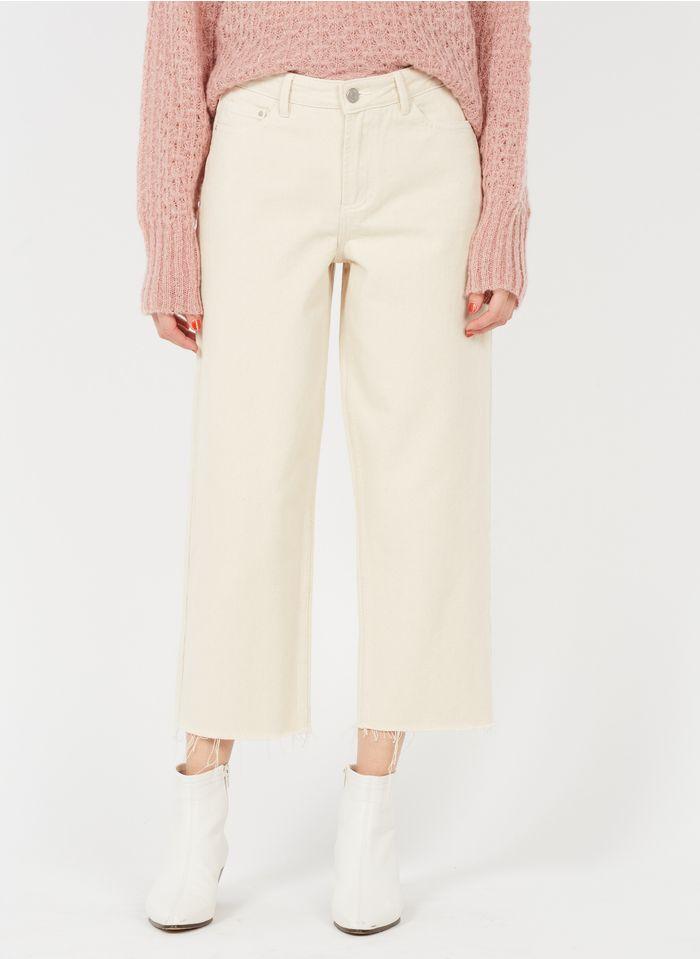 VILA Beige Straight cotton jeans