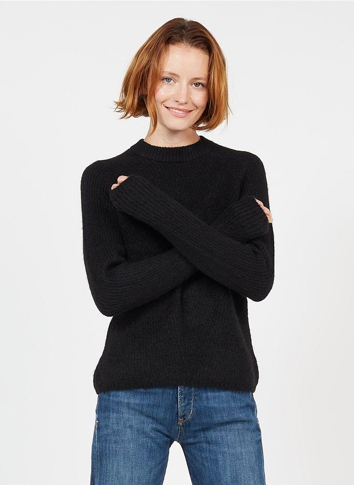 YAS Black Mixed-knit round-neck sweater