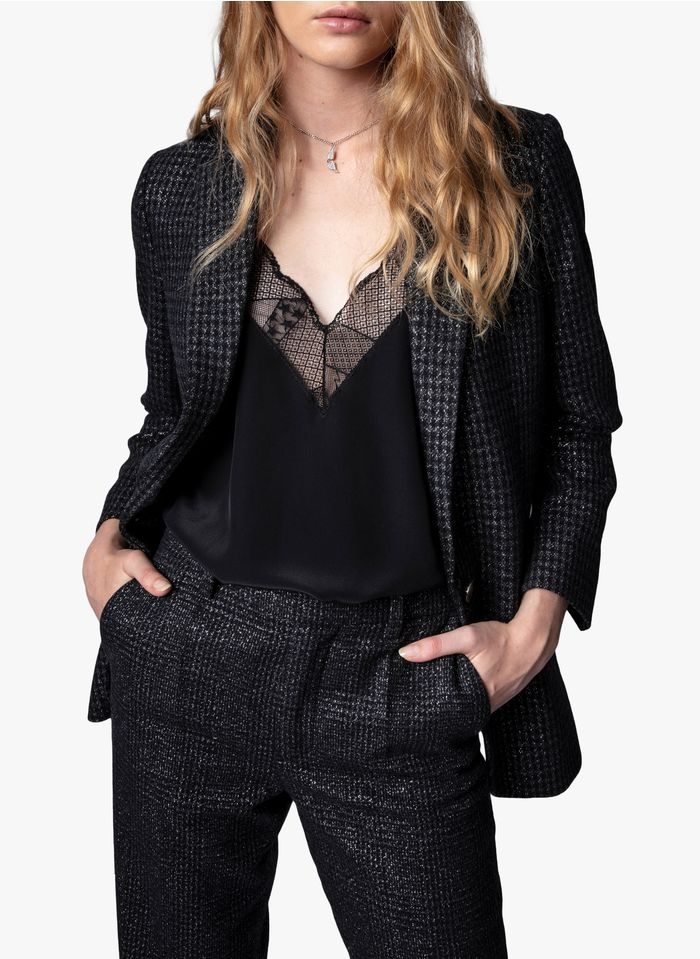 ZADIG&VOLTAIRE Black Checked wool-blend jacket with tailored collar