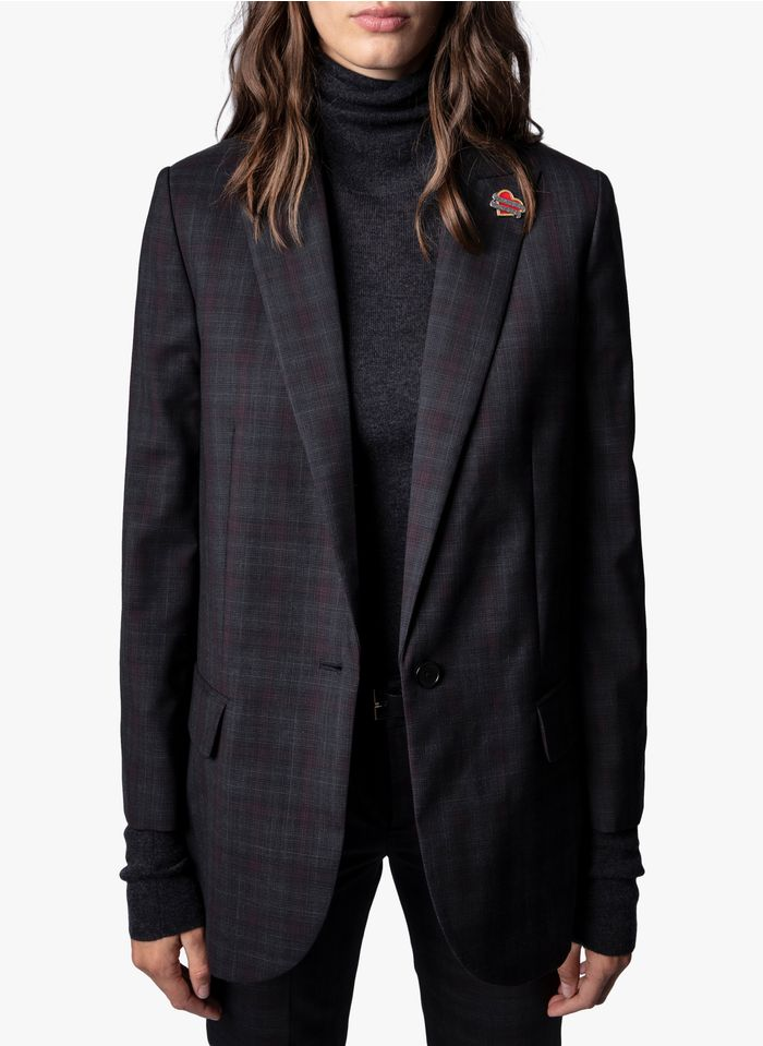 ZADIG&VOLTAIRE Blue Checked wool jacket with tailored collar