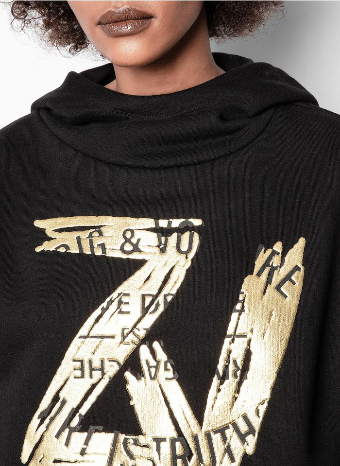 ZADIG&VOLTAIRE Black High-neck cotton hoodie with screen print