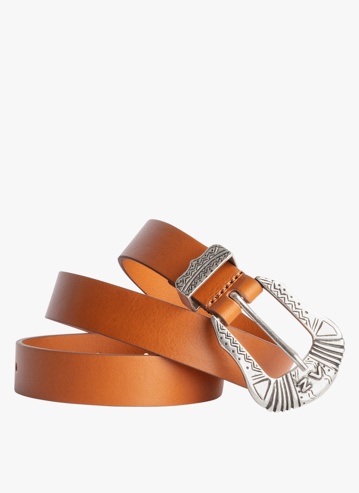 ZADIG&VOLTAIRE Brown Leather belt with engraved buckle