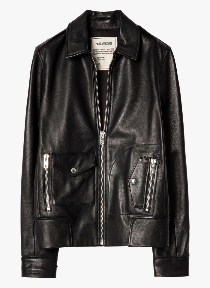 ZADIG&VOLTAIRE Black Leather jacket with classic collar