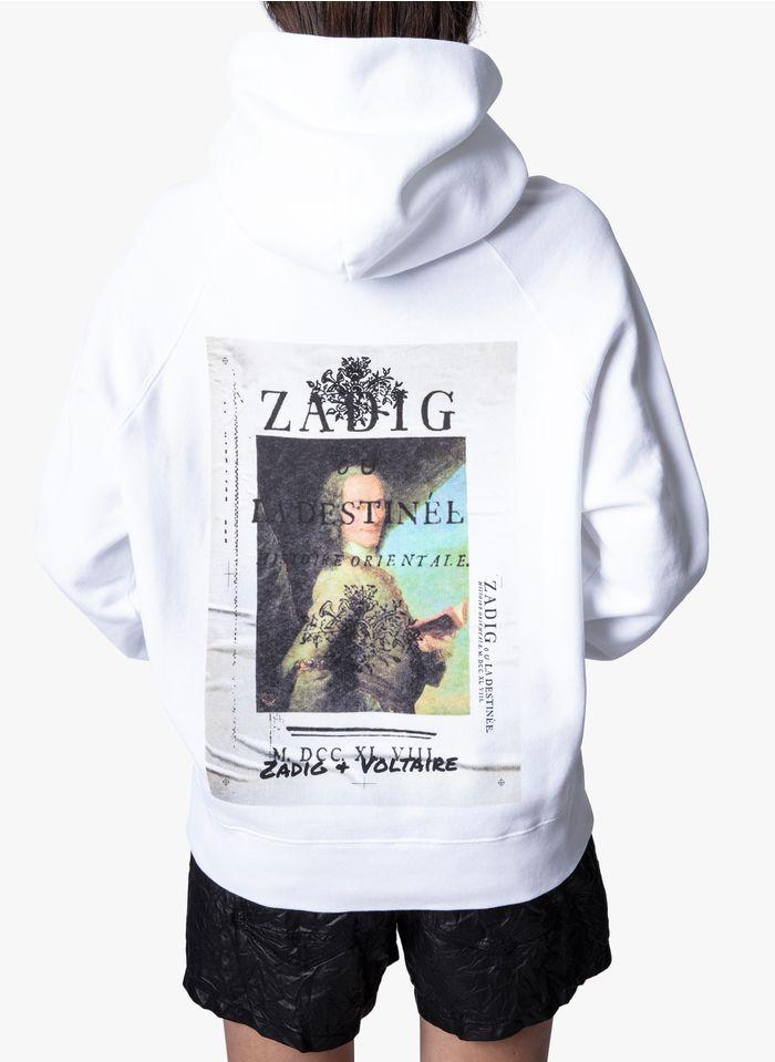 ZADIG&VOLTAIRE White Round-neck cotton-blend sweatshirt with printed back