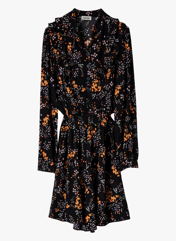 ZADIG&VOLTAIRE Black Short printed dress with classic collar
