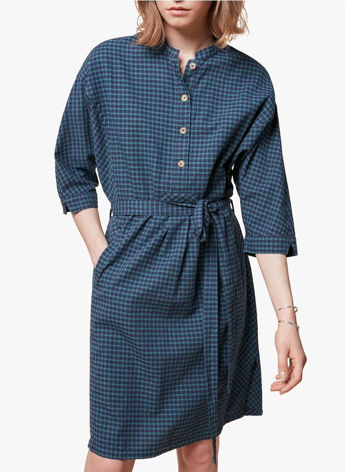 ACOTE Vestido corto de algodón a cuadros con cuello mao en verde