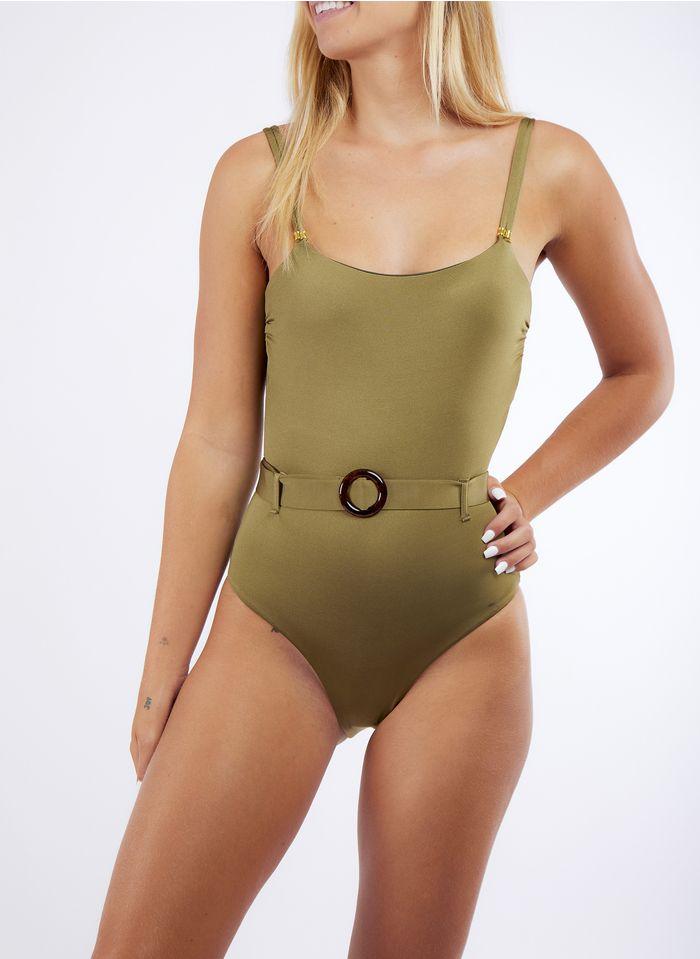 BANANA MOON Bañador con cinturón en verde