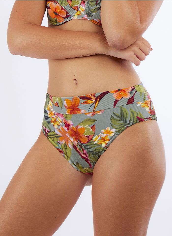 BANANA MOON Braguita de bikini alta estampada en kaki