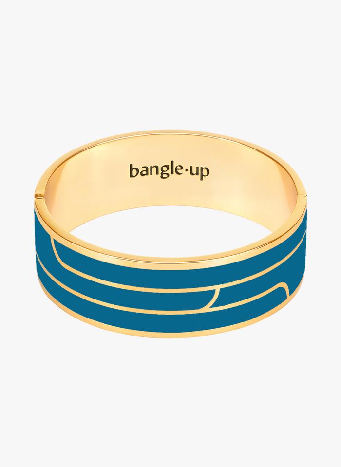 BANGLE UP Pulsera gráfica de metal dorado en azul