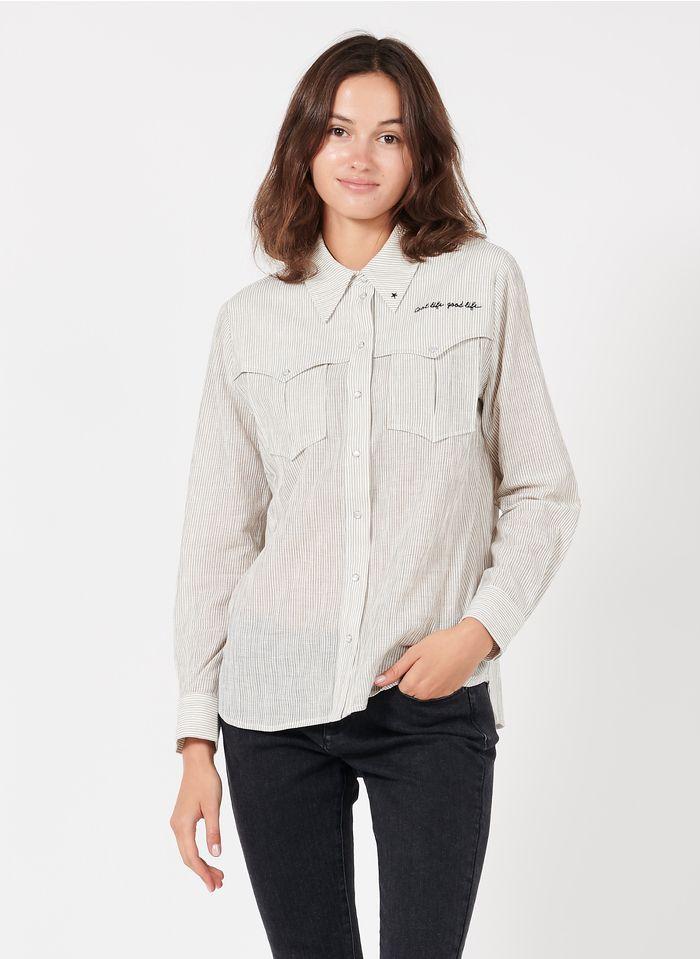BERENICE Camisa de algodón bordada a rayas con cuello clásico en blanco