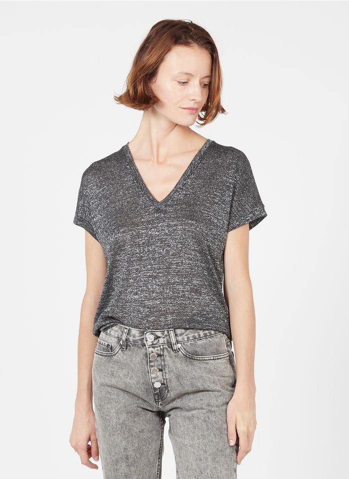 BERENICE Camiseta con cuello de pico e hilos metalizados en gris