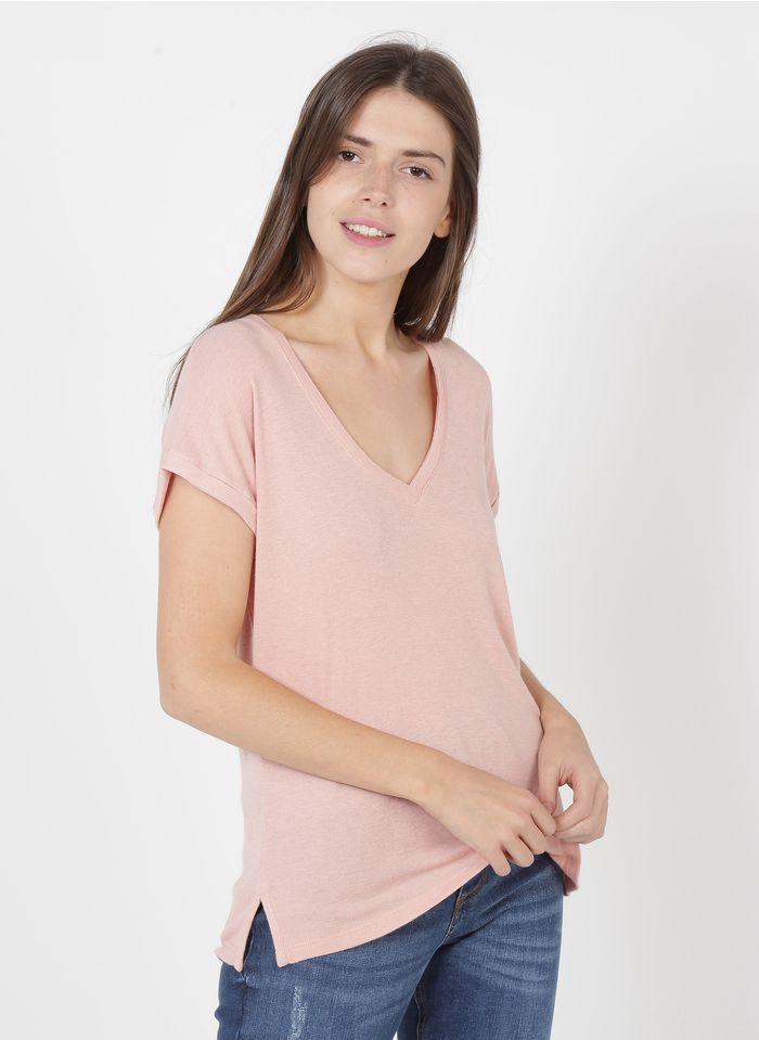BERENICE Camiseta con cuello de pico en rosa