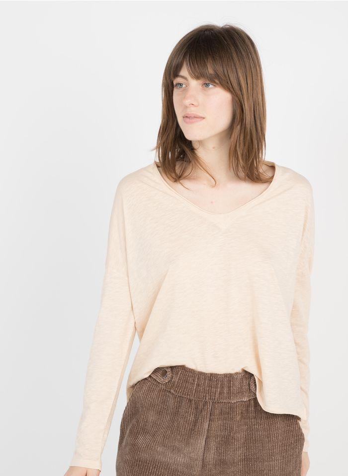 BERENICE Camiseta de algodón con cuello de pico en beige