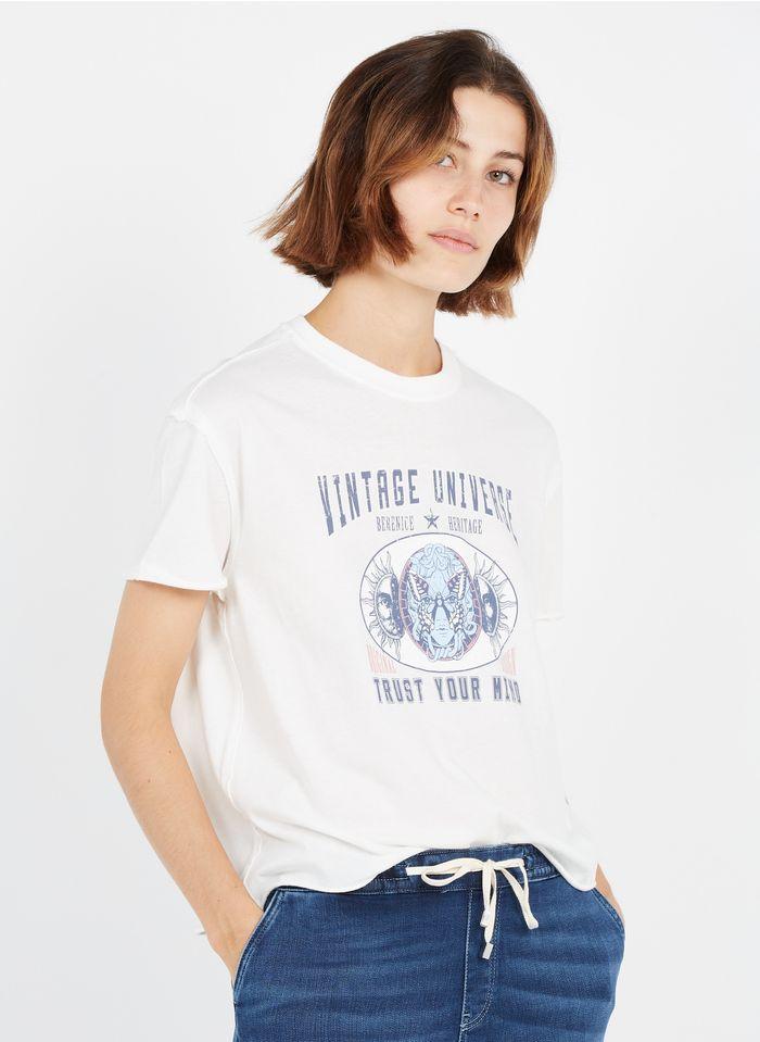 BERENICE Camiseta de algodón serigrafiada con cuello redondo en blanco