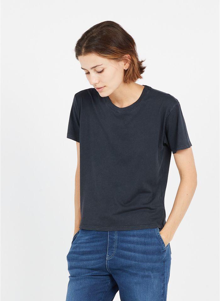 BERENICE Camiseta de algodón serigrafiada con cuello redondo en negro