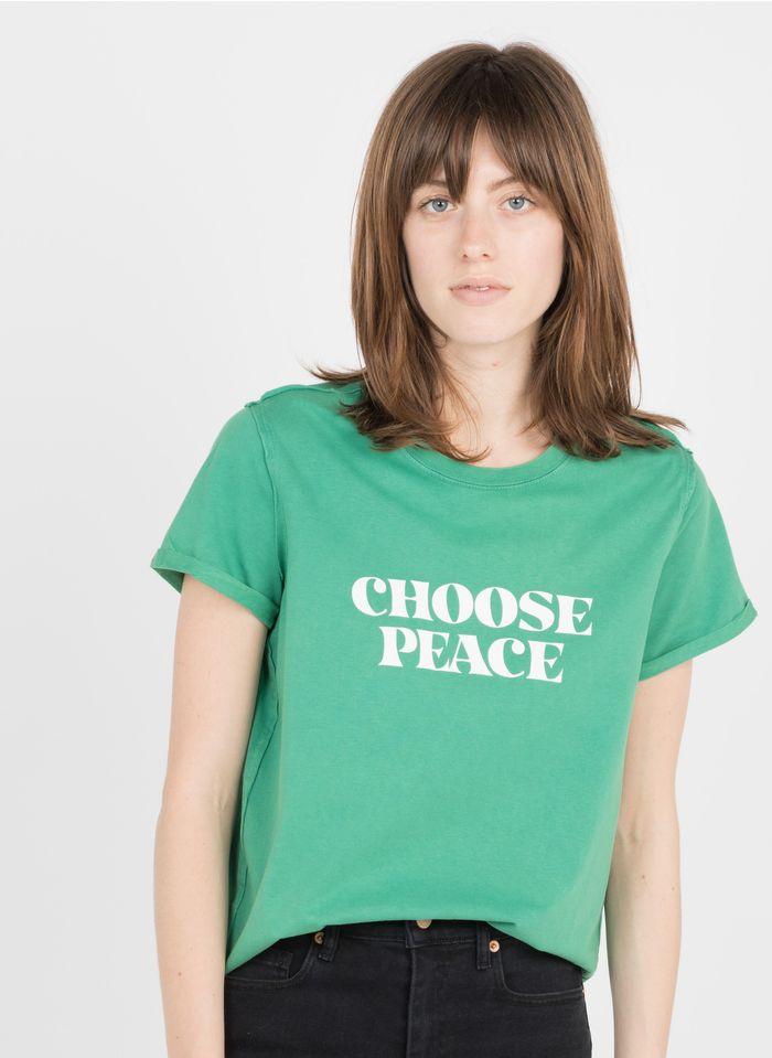 BERENICE Camiseta de algodón serigrafiada con cuello redondo en verde