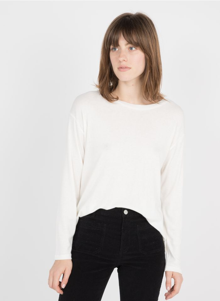 BERENICE Camiseta de cuello redondo con strass en blanco
