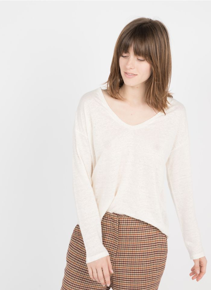 BERENICE Camiseta de lino con cuello redondo en blanco